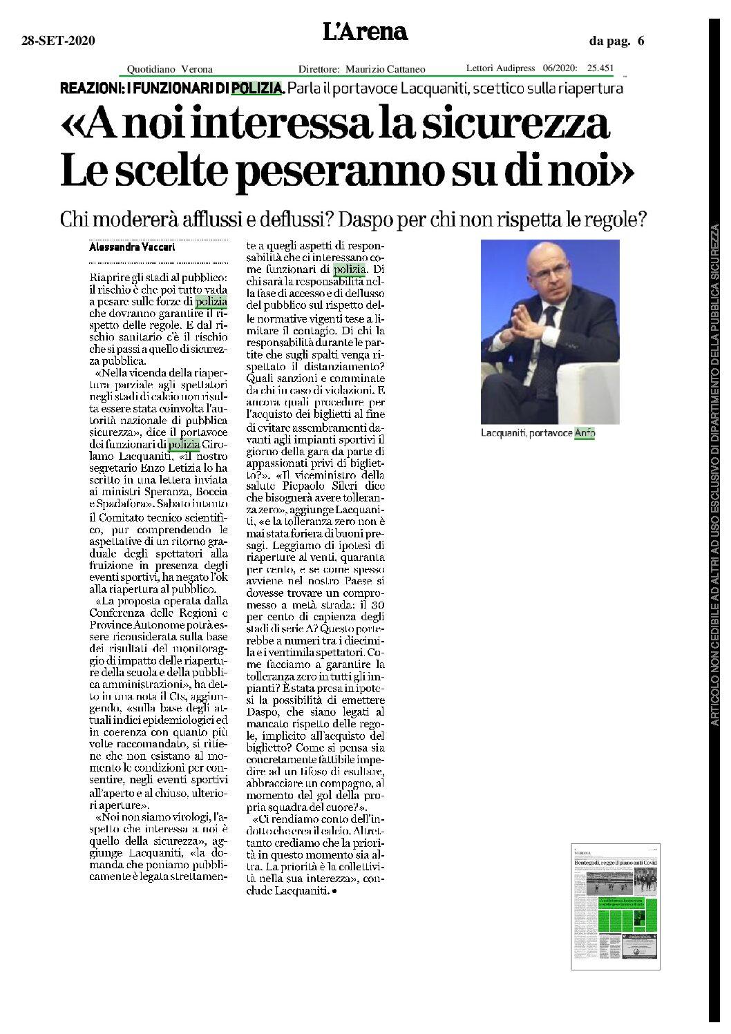L'APERTURA DEGLI STADI AL PUBBLICO: RISCHIO CHE TUTTO PESI SULLE FORZE DI POLIZIA
